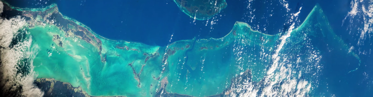 belize barrier reef from the international space station
